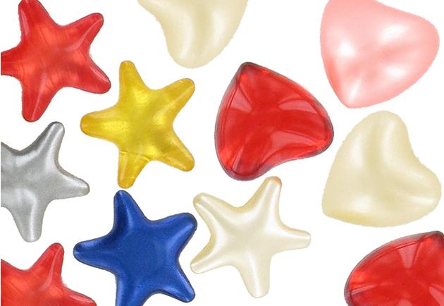 Perles de bain forme cœurs et étoiles